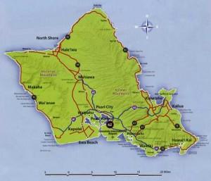 Map Oahu, Hawaii